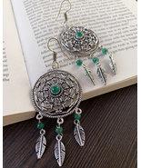Dream catcher earrings with natural green onyx for women, bohemian long ... - $24.65
