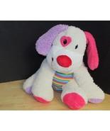 Dan Dee Plush Cream puppy dog rainbow striped tummy heart eye red pink purple  - $14.84