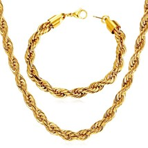 U7 6mm Twisted Rope Chain Stainless Steel/Black Metal / 18K Gold Plated ... - $28.99