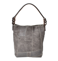 Women's Leather Patchwork Boho Chic Purse Quilted Lined Transport Tote Handbag image 3