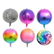 Ladovin 6Pcs 22inch 4D Disco Balloons Gradient Color Aluminum Foil Balloons for  - $16.65