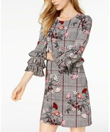 Alfani Petite Floral Houndstooth Printed Tiered-Sleeve Jersey Shift Dres... - $22.08