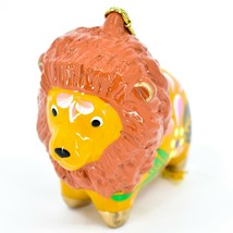 Handcrafted Painted Ceramic Brown Orange Lion Confetti Ornament Made in Peru image 2
