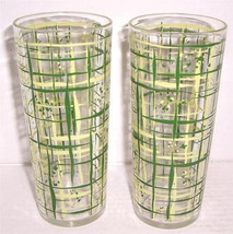 Vintage (2) 1970's Retro Tall Slender Abstract Designed Glass Tumblers - $29.99