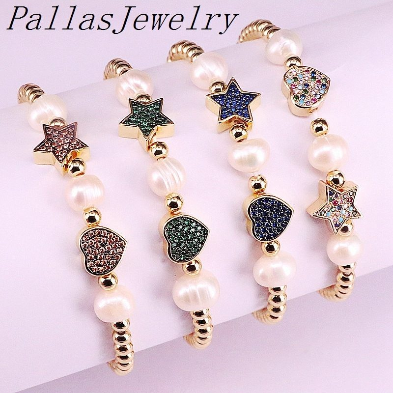Primary image for 5Pcs Cz Micro pave Spacer connector with Freshwater Pearl and Copper Beads  Eleg