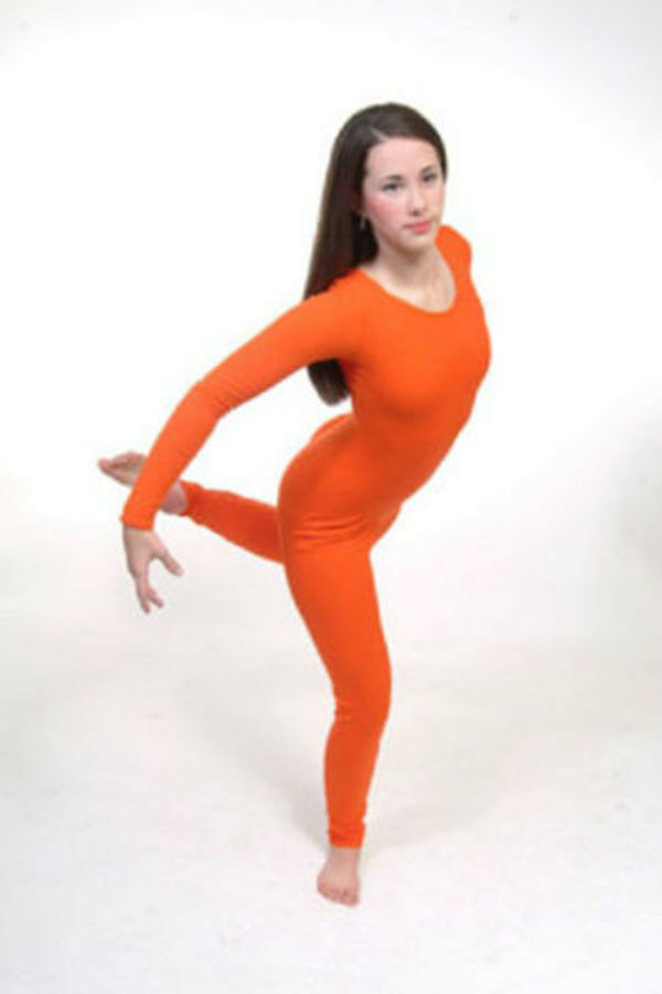 Primary image for Body Wrappers 217 Adult Extra Large (16-18) Orange Full Body Long Sleeve Unitard
