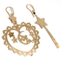 Drop Earrings Silver 925, Fairy, Stars, Heart, Magic Wand, le Favole - $90.18