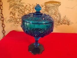 Vintage Dark Blue FENTON Cabbage Rose Glass Pedestal Candy dish with lid - $22.28