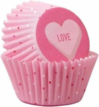 Wilton Scattered Pink Heart Valentines Day 100 ct Mini Baking Cups Cupca... - $3.95
