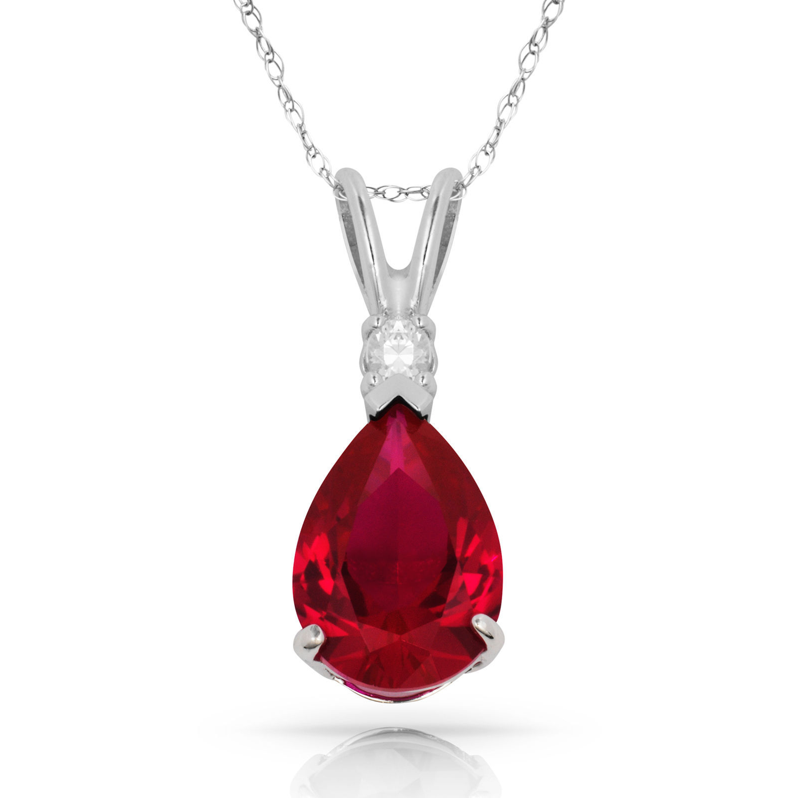 3.05 CT Red Ruby Pear Shape 2 Stone Gemstone Pendant & Necklace 14K W Gold