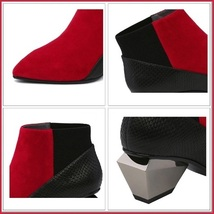 Red And Black Split Color Suede Genuine Cow Leather Cuban Heel Ankle Boots image 4