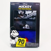 Disney Mickey Mens Crew Socks 3 Pairs Size 6-12 New In Box