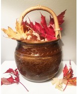 Artisan Pottery: Fall Leaves Stoneware Basket / Vessel (RB01) - $30.00