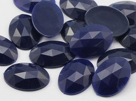 25x18mm Navy .NVY Flat Back Oval Acrylic Jewels High Quality Pro Grade -... - $6.22
