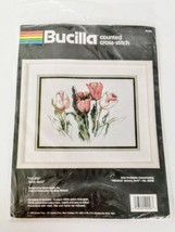 Bucilla Tulip Flowers Kit Crossstich Kit 9 x 12 Vintage 1990 Complete Sealed❤️ - $29.99