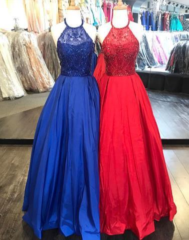 2018 cheap round neck beaded long prom dresses, evening dresses,PD2062