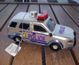 "Police Car Christmas Ornament 5"" Mercury Glass - NEW with Tag  - $12.28"