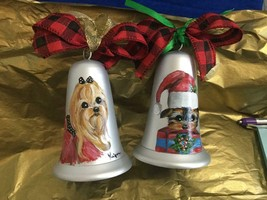 TWO YORKIES HAND PAINTED  BELL CHRISTMAS ORNAMENTS - $58.41