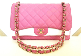 AUTHENTIC CHANEL CAVIAR JUMBO DOUBLE FLAP MATTE PINK GOLD HW - $4,599.00