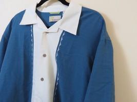 Cubavera Rayon Blend Button Front Shirt Men's Size L Blue Creme - $16.78
