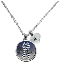 Custom ALS Lou Gehrig's Disease Awareness Sparkle Necklace Jewelry Initial - $15.80