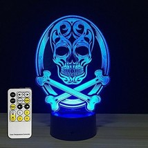 Halloween Lights Skull Lamp 3D Remote Control 7 Colors Gift For Hallowee... - $723,77 MXN