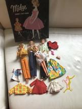 Vintage 1963 Barbie Midge Case Phone With Alan Grow Up Skipper Clothes W... - $124.99