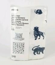 Urskog IKEA Duvet Cover and Pillowcases White & Blue Animals Tiger Doubl... - $29.09