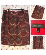 Talbots Womens 10 Red Paisley 11 Button Knee Length Skirt A4935 - $28.10
