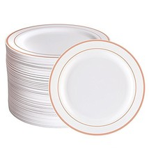 Rose Gold Plastic Plates 96 Pieces, Premium Heavyweight Dessert Plates 7... - $28.07