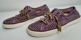 Sperry Womens Top Sider Purple Striped Slip On Boat Shoes Size 8 Flats Casual - $17.99