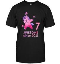 7th Birthday Shirt Unicorn Gift Girls Age 7 Women Tshirt - $17.99+