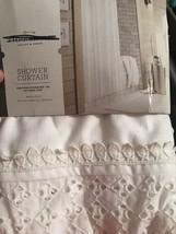 "Threshold Shower Curtain ~ White Eyelet  72"" x 72"" New Cottage Chic - $15.29"