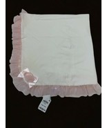 First Impressions Macy's Ivory Cotton Baby Blanket Pink Tulle Ruffled Tr... - $29.69