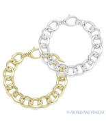 Solid Sterling Silver Fancy Cable Link Women's Fashion Chain Bracelet 92... - $75.99