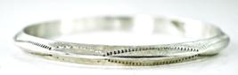 Sterling Tahe Signed Heavy Triangular Bar Etched Bangle Bracelet Large 6mm - $98.99