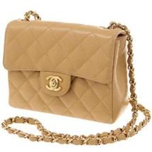 CHANEL Chain Shoulder Bag Caviar Leather Beige A01115 France Authentic 4... - $2,600.25