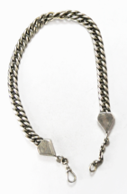 900 Fine Silver Curb Link Oval Twist 10mm Pocket Watch Chain 84 grams - $98.99