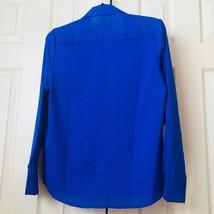 New Fashion Women Slim Semi Sheer Long Sleeve Blue  Shirt Blouse Tops Career XXL - $11.40