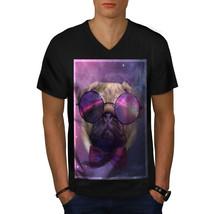 Cosmic Glasses Pug Shirt Space Dream Men V-Neck T-shirt - $12.99+