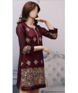Burgundy Pakistani Masoori Kurta Embroidery, Fancy Thread work Large - $39.60
