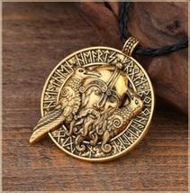 Viking Odin Two Black Ravens Rune Talisman Amulet Vintage Pendant Men's ... - $32.95