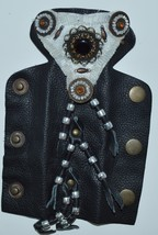 Biker Small Leather and Beaded Hair Clip with Seed Pearl Design - €13,31 EUR