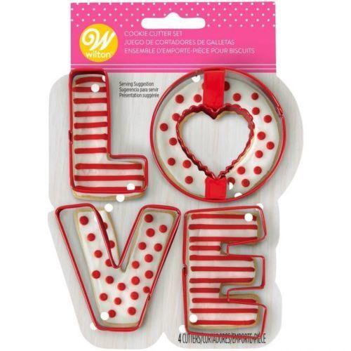 Wilton LOVE Cookie Cutters Red Metal 4 Pc Set
