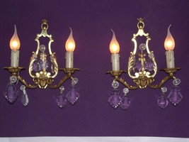 Lovely Pair Vintage French Brass Crystal Bohemian Style Double Wall Ligh... - $246.38