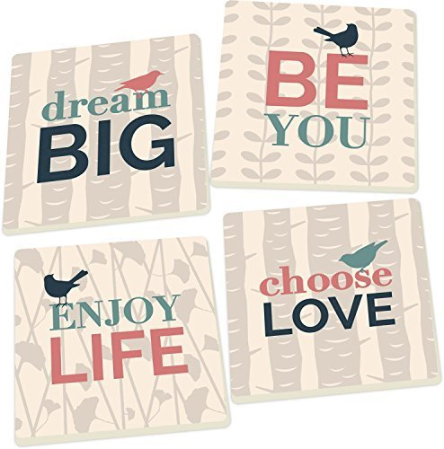Dream Big, Choose Love Birds 4 Piece Square Ceramic Coaster Set