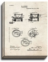 Fishing Reel Patent Print Old Look on Canvas - $39.95+