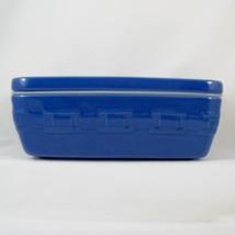 Longaberger Pottery Woven Tradition 4x8 Lidded Dish Cornflower Blue Baki... - $29.98