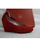 Johnston & Murphy 7 M Tracey Red Suede Ankle Strap Wedges New Womens Shoes - $67.05