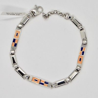SOLID 925 SILVER BRACELET WITH BLU & YELLOW GLAZED NAUTICAL FLAGS MADE IN ITALY